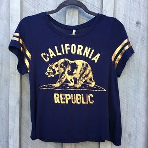 Metallic gold and blue California loose crop top